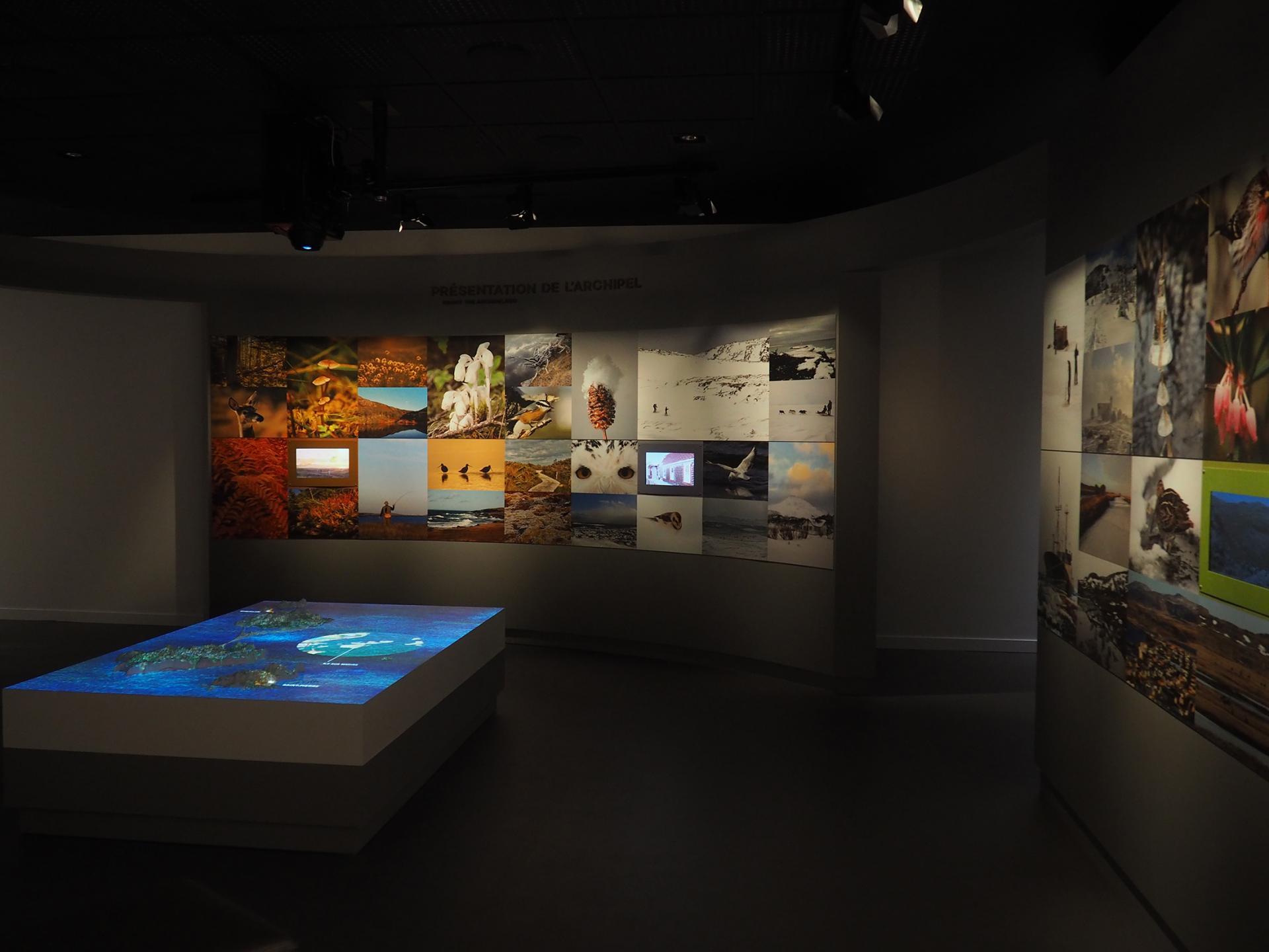 Murs d images et maquette de l ile