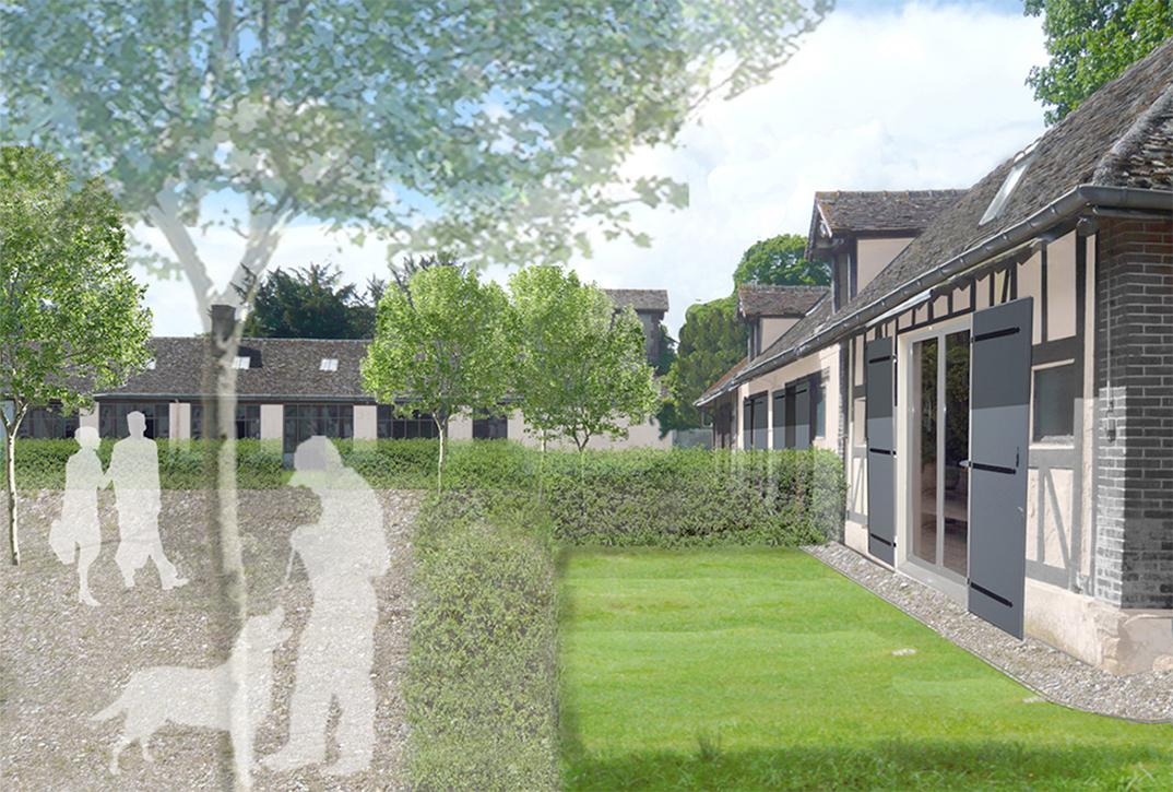 Vue des bâtiments en entrant dans la cour jardin